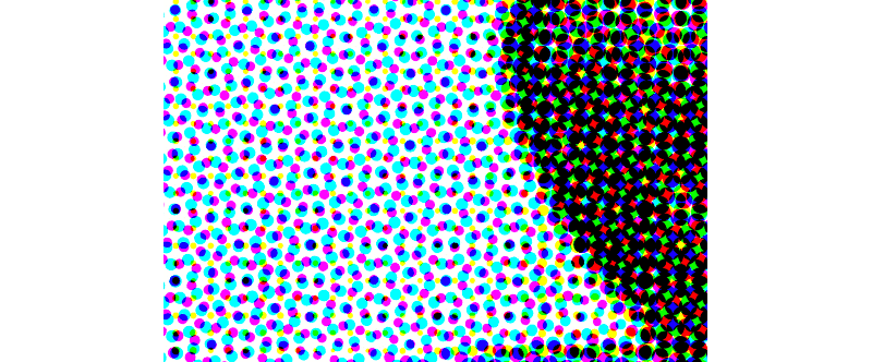 Photo de trame d'impression, zoomé de très près pour voir les points de Cyan Magenta Jaune et Noir qui vont permettre de composer une image en prenant du recul