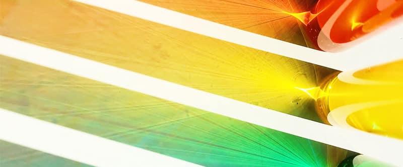 Représentation de la diffraction de la lumière avec des cylindres transparents de différentes couleurs pour parler de la synthèse dans le RVB