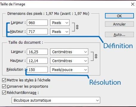 Capture d'écran du menu taille de l'image de Photoshop. En haut se trouve la définition : nombre de pixel en largeur et hauteur, plus bas la résolution, nombre de centrimètre en largeur et hauteur et nombre de pixel par pouce