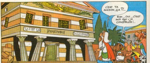 Case de la BD Asterix mission Cléôpatre devant une maison biscornue : un cahier des charges est important pour éviter d'avoir un projet bancal et faire des économies